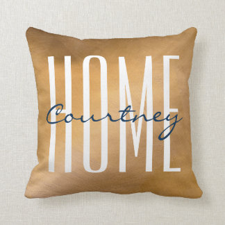 Copper And Navy Home Your Name Throw Pillows