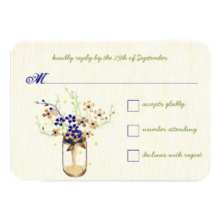 Copper and Navy Wild Flower Mason Jar Card