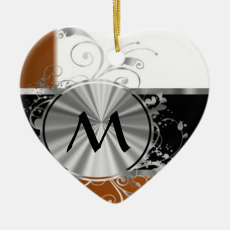 Copper and silver monogram christmas ornament