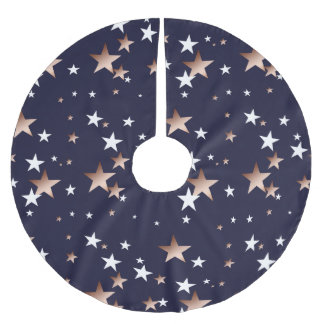 Copper and White Stars on Navy Blue Brushed Polyester Tree Skirt