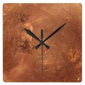 Copper background square wall clock