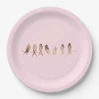 Copper Birds on Wire on Pink | Paper Plates 9 Inch Paper Plate