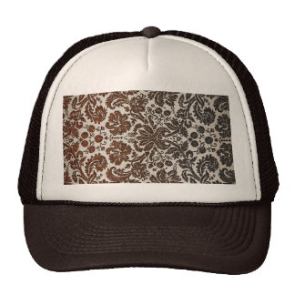 Copper Black and Brown Damask Mesh Hats