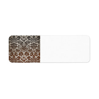 Copper, Black, and Brown Damask Return Address Label
