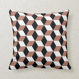 Copper Black & White 3D Cubes Pattern Cushion