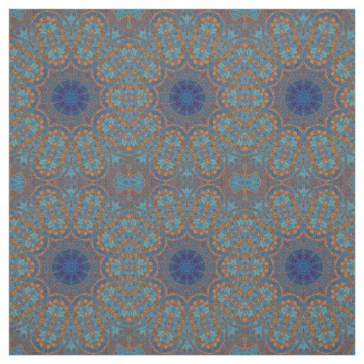 Copper Blue Circles Indian Print Pattern Fabric