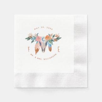 Copper Boho Florals & Feather Wedding Paper Napkin