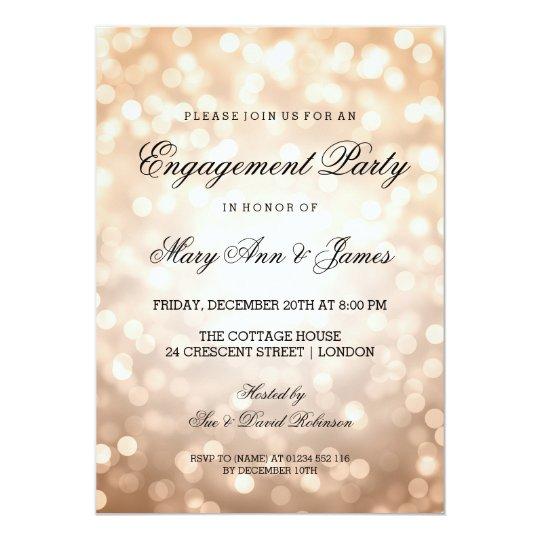 Copper Bokeh Lights Elegant Engagement Party Card