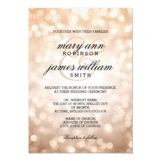 Copper Bokeh Lights Elegant Wedding 13 Cm X 18 Cm Invitation Card