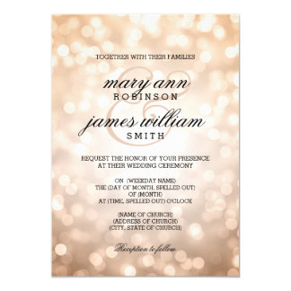 Copper Bokeh Lights Elegant Wedding Card
