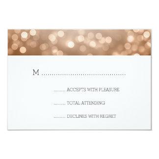 Copper Bokeh Lights Elegant Wedding RSVP Card
