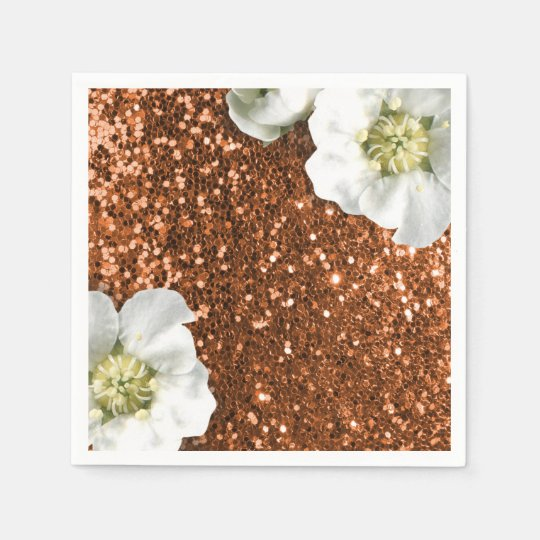 Copper Brown Gold Sparkly Jasmine Glitter Sequin Paper