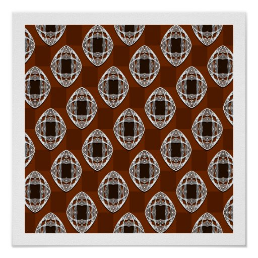 Copper Brown Nouveau Checked Pattern Poster