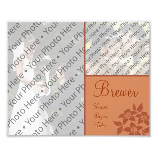 Copper Brown Wedding Photo Collage Prints w/ Text Photo