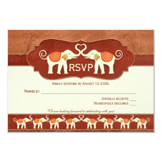 Copper Brown White Elephants Wedding RSVP Card 9 Cm X 13 Cm Invitation Card