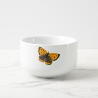 Copper butterfly design soup mug