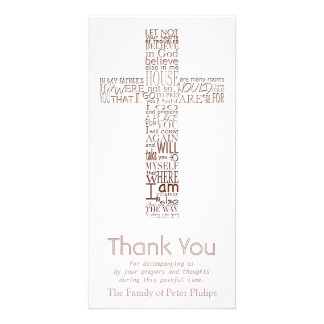 Copper Christian Cross John 14  Sympathy Thank You Customized Photo Card