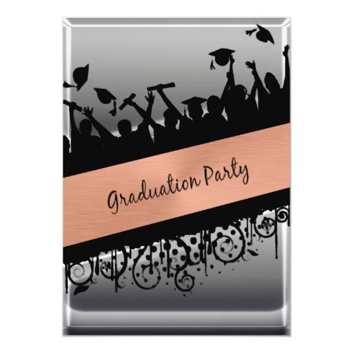 Copper & Chrome Diagonal Slash Graduation 13 Cm X 18 Cm Invitation Card