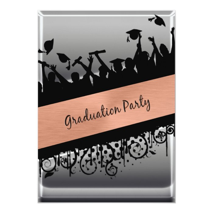 Copper & Chrome Diagonal Slash Graduation 13 Cm X 18 Cm Invitation Card