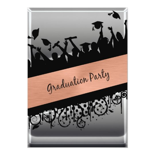 Copper & Chrome Diagonal Slash Graduation Card