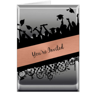Copper Chrome Diagonal Slash You re Invited Greeting Card