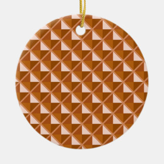 Copper colored, metallic look, studded grid christmas ornament