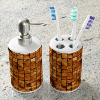 Copper Colored Mosaic Tile Pattern Soap Dispenser And Toothbrush Holder