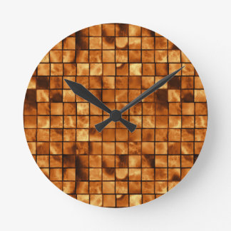 Copper Colored Mosaic Tile Pattern Wall Clocks