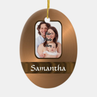 Copper colored photo template christmas ornament