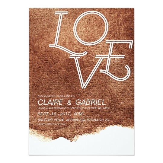 Copper colour love modern simple wedding card