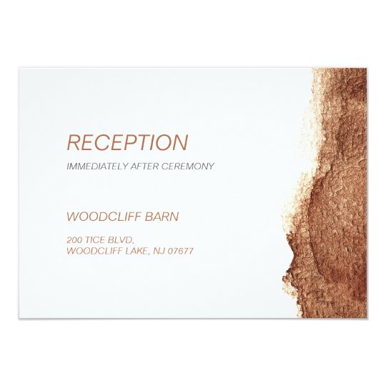 Copper colour modern simple wedding reception card