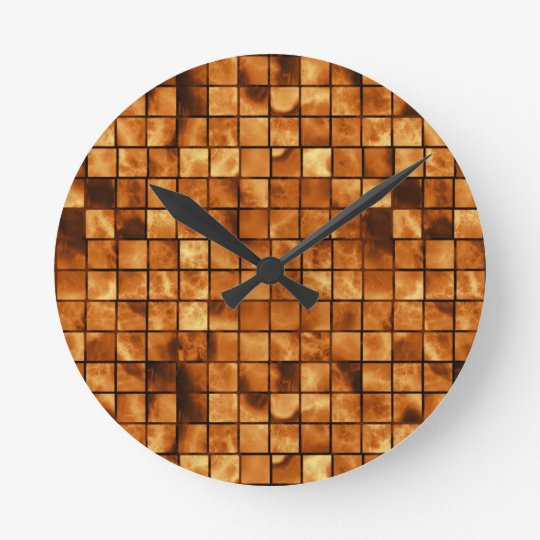 Copper Coloured Mosaic Tile Pattern Wall Clocks