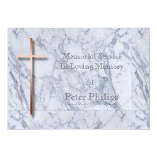 Copper Cross Marble 1 Memorial Service 13 Cm X 18 Cm Invitation Card