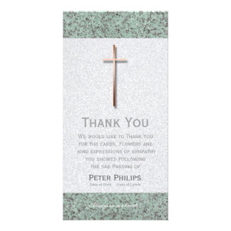 Copper Cross Stone 1 Funeral Thank You Photo Card