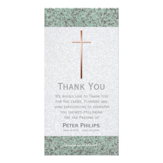 Copper Cross Stone 2 Funeral Thank You Photo Card