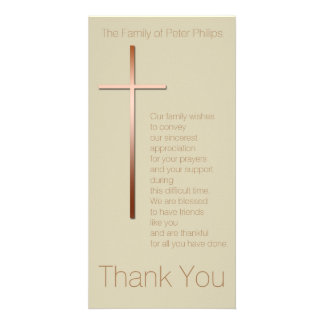 Copper Cross Sympathy Thank You Choose Color Picture Card