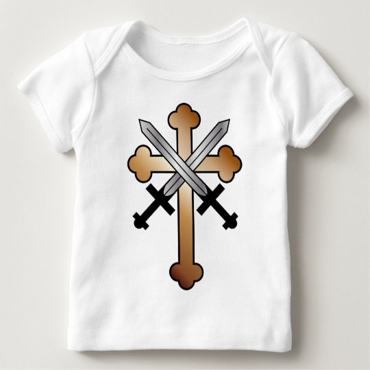 Copper Cross with Crossed Swords Baby T-Shirt