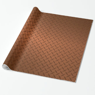 Copper Diamondplate Look Pattern Wrapping Paper