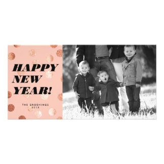 Copper Dots Modern Type Happy New Year Card Personalised Photo Card