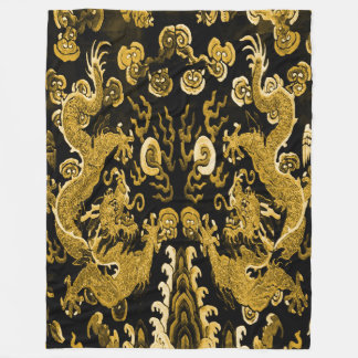 Copper Double Dragons Fleece Blanket