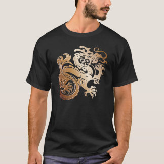 Copper Dragon on Black T - T-Shirt
