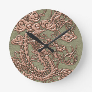 Copper Dragon on Khaki Leather Texture Round Clock