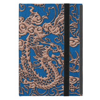 Copper Dragon on Lapis Blue Leather Texture iPad Mini Case