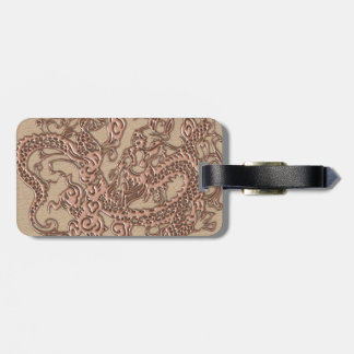 Copper Dragon on Shell Leather Texture Luggage Tag