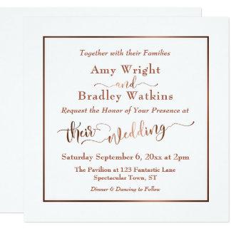 Copper Elegant Script & Editable White | Wedding Card