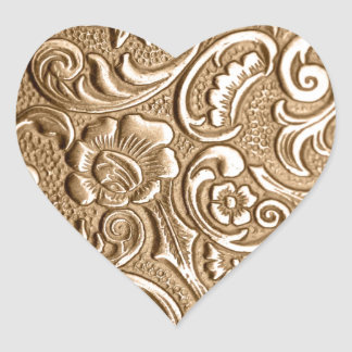 Copper embossed floral pattern. heart sticker
