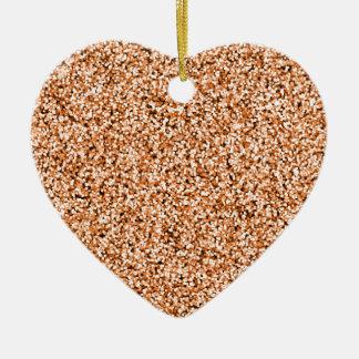 Copper Faux Glitter Ceramic Heart Decoration