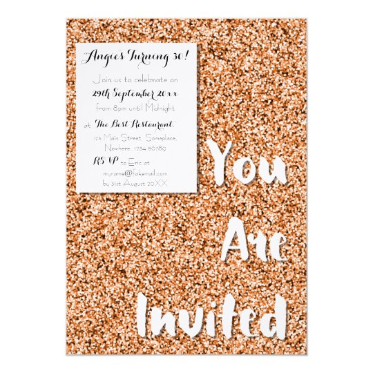 Copper Faux Glitter Party Invitation