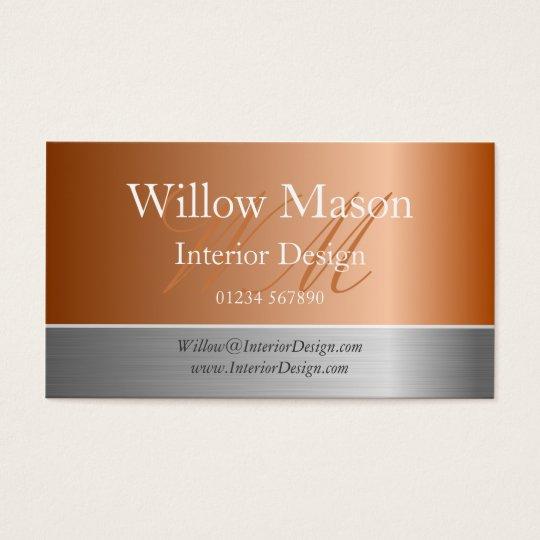 Copper Foil & Brushed Steel Monogram Business Card