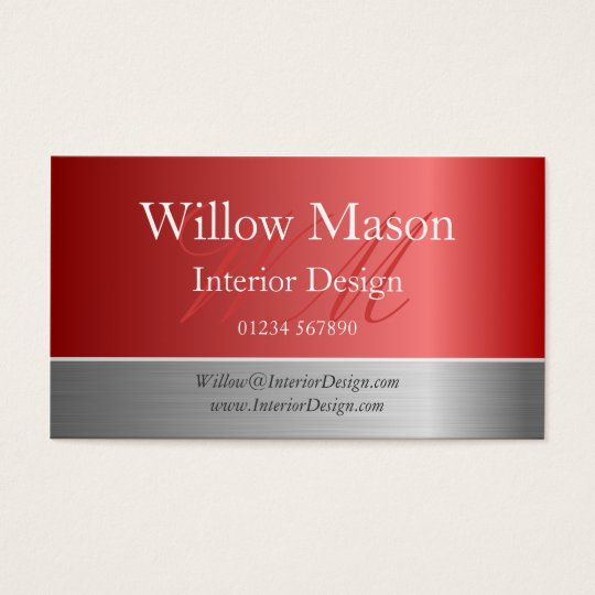 Copper Foil & Steel Effect Monogram Business Card